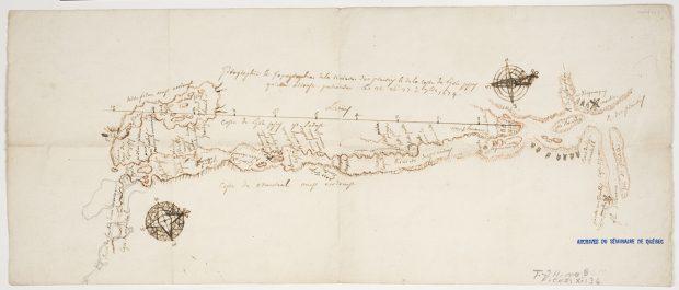 Plan dessiné à la main de la côte sud de l'île Jésus en 1674. Le papier est jauni et l'encre est beige.  Des indications de lieux et d'installations algonquiennes sont inscrites avec une rose des vents aux deux extrémités.