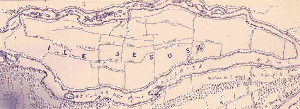 Carte de l'île Jésus en teinte de mauve. Au haut, on voit la rivière des Mille-Îles désignée comme Rivière des Ottawas. Au bas, on voit la rivière des Prairies et quelques lieux du nord de l'île de Montréal. Les chemins principaux de l'île Jésus sont dessinés et nommés.