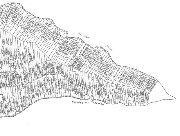 Carte en noir et blanc représentant des lots sous forme de longs rectangles. Les noms des propriétaires des lots y sont inscrits à l'intérieur.