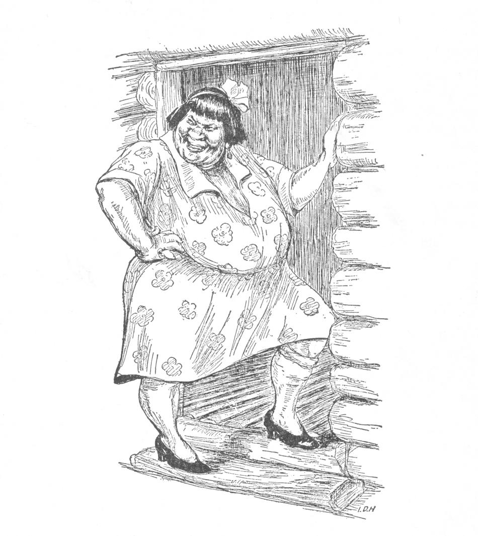 Dessin en noir et blanc d'une femme obèse qui porte une robe fleurie et qui se tient dans l'embrasure de la porte d'une cabane en bois rond.