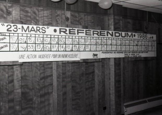 Photo en noir et blanc d'un tableau sur lequel est inscrit 23 mars Référendum, 1986. Les différents résultats par bureau de scrutin sont inscrit. Le mur est en latte de bois et des ballons flottent au plafond.