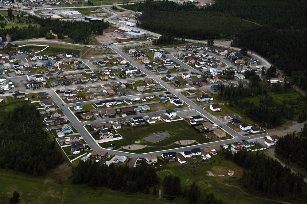 Vue aérienne du nouveau quartier au nord de la ville de Malartic