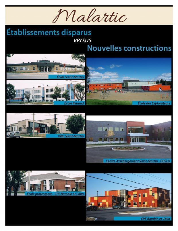 Montage photo des anciens et nouveaux établissements institutionnels de Malartic