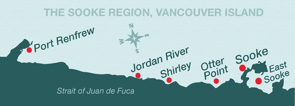 Image représentant une carte de la côte sud-ouest de l'île de Vancouver, où l'on voit la région de Sooke à partir de Port Renfrew jusqu'à East Sooke; différentes localités y sont marquées par des points rouges le long de la côte.