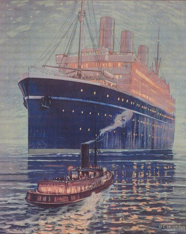 Aquarelle d'un navire la nuit et d'un remorqueur se dirigeant vers le navire.