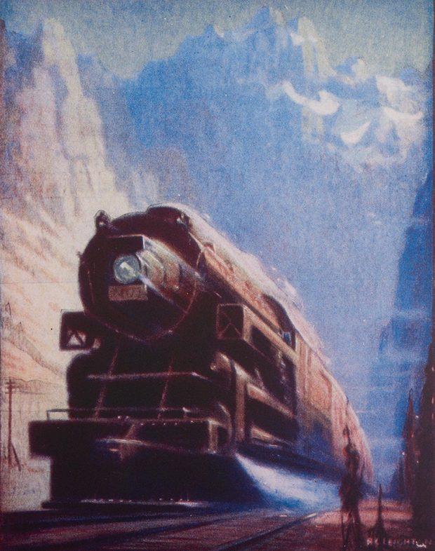 Pastel d'une locomotive roulant à vive allure dans un paysage montagneux.