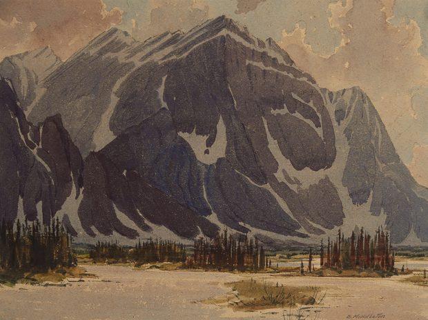 Aquarelle d'une montagne avec des arbres et de l'eau au premier plan.