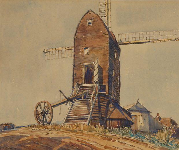 Aquarelle d'un moulin à vent anglais sur une colline.