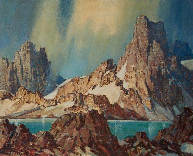 Peinture à l'huile de hautes montagnes et d'un ciel dramatique avec un lac et des rochers au premier plan.