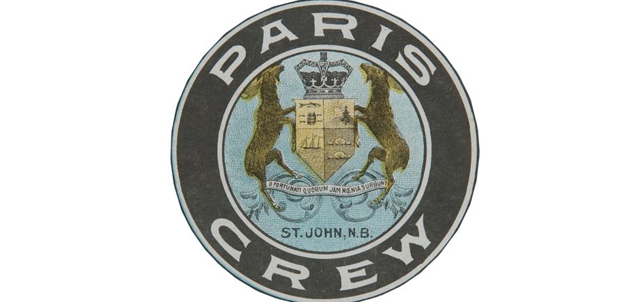 Image de l'écusson de The Paris Crew qui a été utilisé dans de nombreux documents d'archives et artefacts créés à l'époque de The Paris Crew dans les délais de 1867.