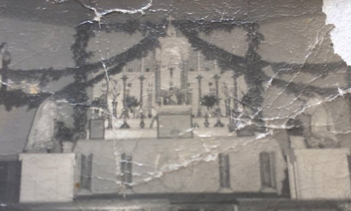 Inside the church in Oderin in 1952 showing the altar decorated for Christmas