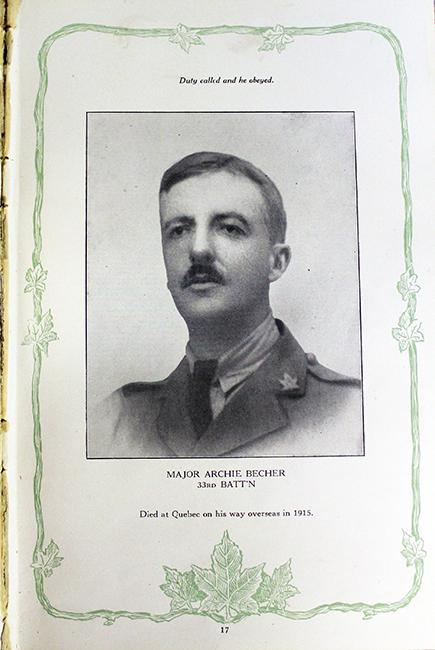 Photo d'une page d'un livre montrant le portrait d'un soldat portant une casquette. Il y a du texte en haut et en bas de page; les marges sont ornées de feuilles de vigne et d'érable.