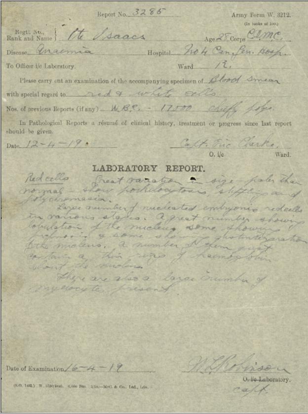 Un formulaire rempli à la main. C'est le ARMY FORM W. 3212 et présente des résultats médicaux. Des signatures au bas de la page.