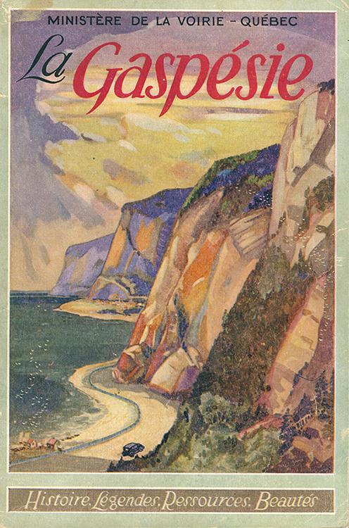 Page couverture du livret La Gaspésie produit par le Ministère de la voirie. La couverture est illustrée par une image romantique de la Gaspésie. Dans une ambiance de couché de soleil, une voiture des années 30 avance sur une route qui sillonne le pied des immenses falaises côtières de la Gaspésie.