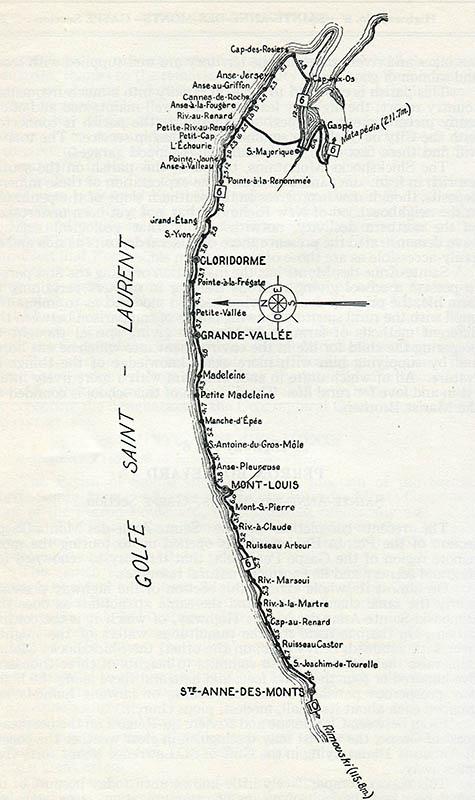 Tracé à l'encre noire de la route No.6 de Ste-Anne-des-Monts jusqu'à Gaspé. Sur le long du tracé, l'on retrouve le nom de l'ensemble des villages et des cours d'eau que l'on rencontre.