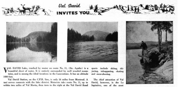 Extrait d'une brochure présentant Val-David avec quelques images de la nature et d'un lac.