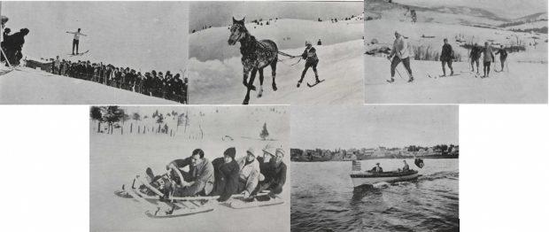 Montage de 5 photos de sport: le saut à ski, le ski-joering, le ski de fonds, le bobsleigh et le yachting.