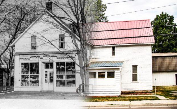 Une image montre une ancienne photo noir et blanc de la moitié d'un magasin qui se fond dans une photo couleur contemporaine de l'autre moitié de la même bâtisse.