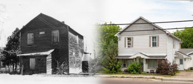 Deux photos sont juxtaposées. Celle de gauche, en noir et blanc, représente une ancienne bâtisse faite de bois et celle de droite, en couleur, représente la même bâtisse avec revêtement extérieur et entrée latérale.