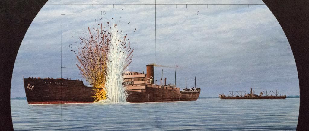 peinture d'un navire avec une torpille explosant sur le côté