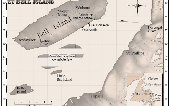 Carte sépia de Bell Island et de la Baie de Conception, Terre-Neuve