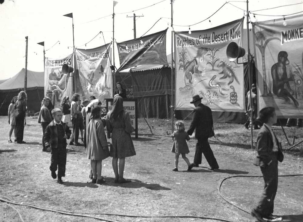 Black and white photo of people gathered around bannerline for an exotic animal sideshow featuring large painted banners with monkeys, reptiles and other animals with a person standing at a podium in the background - Une photo en noir et blanc d'une foule à une fête foraine parmi de nombreuses tentes; on voit un carrousel en arrière-plan