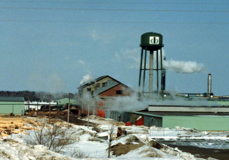 Une scierie faite de briques est entourée de piles de bran de scie l'hiver, avec un château d'eau et un incinérateur à déchets en arrière-plan.