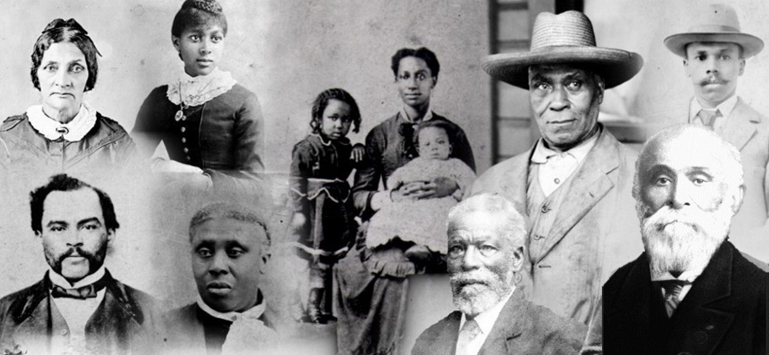 collage de visages d'hommes, de femmes et d'enfants noirs d'âges divers arrivés en Colombie-Britannique en 1858