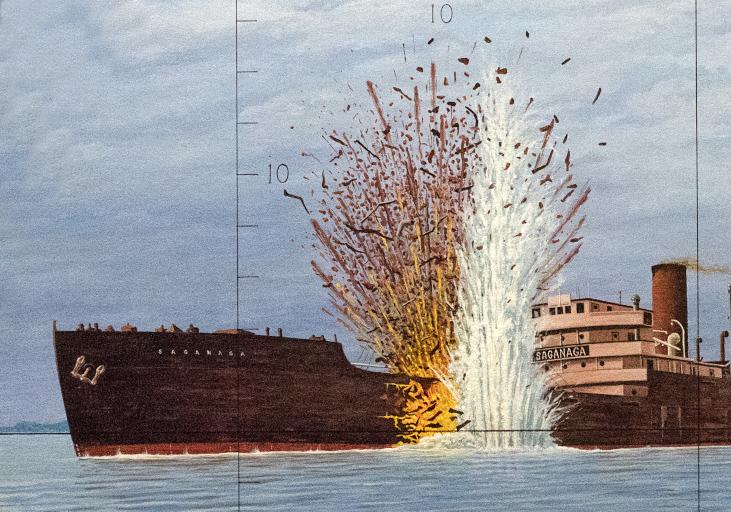 Peinture d'un navire marchand avec une torpille explosant dans son flanc