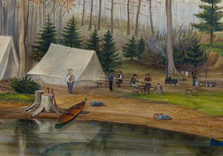 Tableau d'hommes rassemblés à un terrain de camping avec des canoës au premier plan et plusieurs grands arbres à l'arrière-plan.